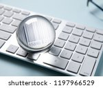 barcode in clear crystal on... | Shutterstock . vector #1197966529