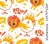 pattern the circus lion jumping ... | Shutterstock .eps vector #1197971569