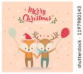 cute happy fox and deer  in... | Shutterstock .eps vector #1197980143