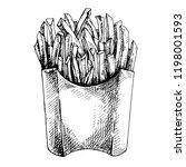 vector potatoes french fries in ... | Shutterstock .eps vector #1198001593