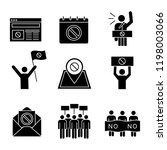 protest action glyph icons set. ... | Shutterstock .eps vector #1198003066
