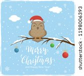owl with santa's hat on branch... | Shutterstock .eps vector #1198006393