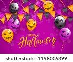 lettering happy halloween on... | Shutterstock .eps vector #1198006399