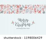 merry christmas with decorative ... | Shutterstock .eps vector #1198006429