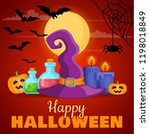 halloween background with...   Shutterstock .eps vector #1198018849