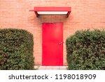 horizontal image. red door...   Shutterstock . vector #1198018909