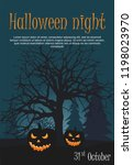 two halloween pumpkin on night... | Shutterstock .eps vector #1198023970