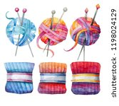 set of hand drawn knitting... | Shutterstock . vector #1198024129