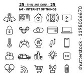 set of 25 thin line icons about ...
