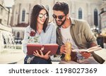 campus life. couple of students ... | Shutterstock . vector #1198027369