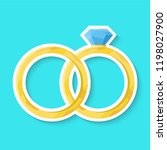 wedding ring isolated on a blue ... | Shutterstock .eps vector #1198027900
