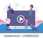 people watching online video....   Shutterstock .eps vector #1198031023