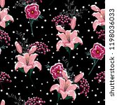 in the night snow on blooming... | Shutterstock .eps vector #1198036033