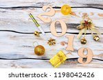new year and christmas 2019... | Shutterstock . vector #1198042426