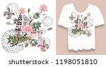 stylish  designer print on t... | Shutterstock . vector #1198051810