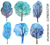 set of hand drawn watercolor... | Shutterstock . vector #1198053739