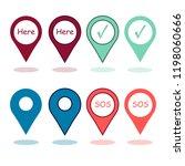 multicolored map pin  marker ... | Shutterstock .eps vector #1198060666