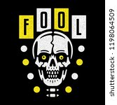 fool. vintage white skull with... | Shutterstock .eps vector #1198064509