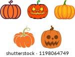 set of halloween pumpkins | Shutterstock .eps vector #1198064749