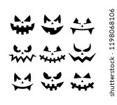 scary faces halloween  | Shutterstock .eps vector #1198068106