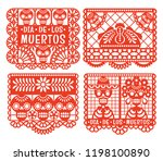 day of the dead. papel picado....   Shutterstock .eps vector #1198100890