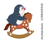 illustration with funny cartoon ... | Shutterstock .eps vector #1198105510