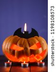 halloween pumpkin. candles  bat ... | Shutterstock . vector #1198108573