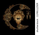 boho chic tattoo design. golden ... | Shutterstock .eps vector #1198112509