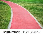 a red soft jogging track in the ... | Shutterstock . vector #1198120873