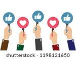 hand of businessman many hands...   Shutterstock .eps vector #1198121650