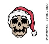 skull santa without beard hand... | Shutterstock .eps vector #1198124800