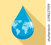 earth water drop icon. flat... | Shutterstock .eps vector #1198127059