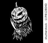 pumpkin scary vector art | Shutterstock .eps vector #1198128040