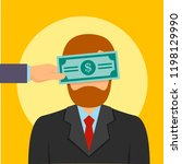 bribery money close eyes... | Shutterstock .eps vector #1198129990