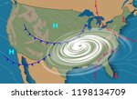 weather map of the united... | Shutterstock .eps vector #1198134709