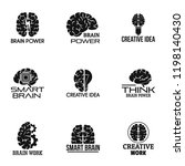 brain power logo set. simple... | Shutterstock .eps vector #1198140430