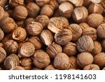 big pile of walnuts close up   Shutterstock . vector #1198141603
