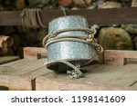 metal bucket on a rope for a...   Shutterstock . vector #1198141609