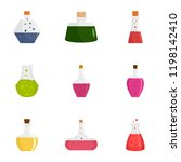 potion icon set. flat set of 9...   Shutterstock .eps vector #1198142410