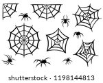 black silhouettes of spiders... | Shutterstock .eps vector #1198144813