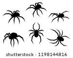Set Of Black Silhouette Spider...