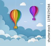 hanging paper craft hot air... | Shutterstock .eps vector #1198154266