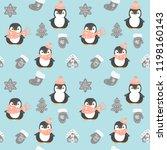 penguin seamless pattern. cute... | Shutterstock .eps vector #1198160143