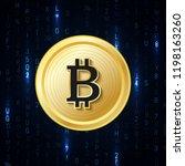 web banner with golden bitcoin... | Shutterstock .eps vector #1198163260