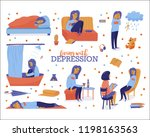 living with depression set  ... | Shutterstock .eps vector #1198163563