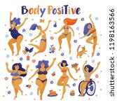set of happy slim and plus size ... | Shutterstock .eps vector #1198163566
