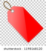 red shining rectangle blank tag ... | Shutterstock .eps vector #1198168120