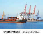 bulk cargo ship under port... | Shutterstock . vector #1198183963