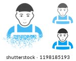 worker icon with face in... | Shutterstock .eps vector #1198185193