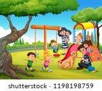 children playing at playground... | Shutterstock .eps vector #1198198759